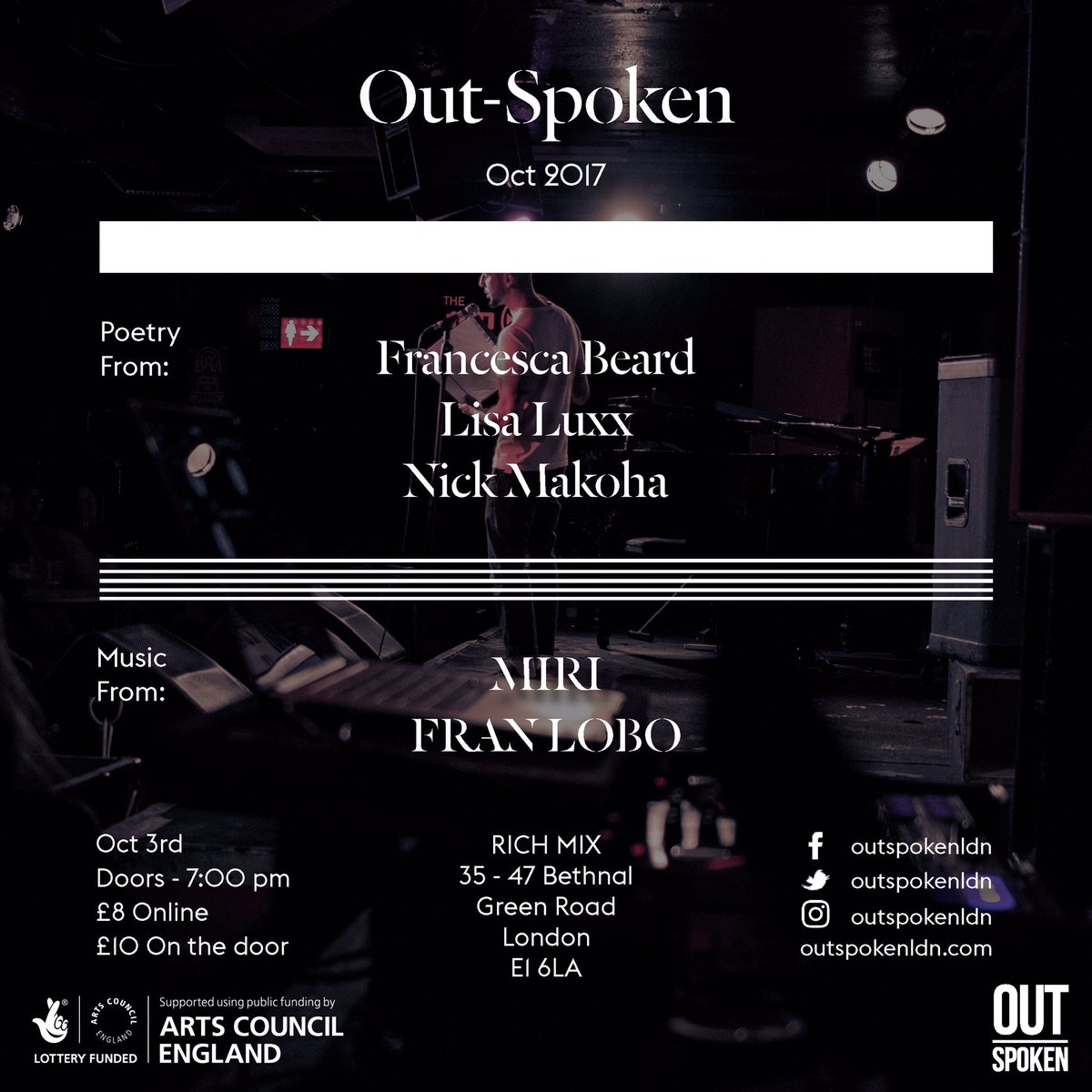 test Twitter Media - RT @OutSpokenLDN: Here's the lineup for next month's show @RichMixLondon. Grab a ticket https://t.co/p9F8ABpT5z https://t.co/RoQorqLPrM