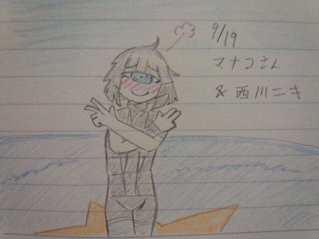 追撃のターン!西川ニキも誕生日らしいからマナコさんにHOTLIMITビーム!ビビビ!やっぱり恥ずかしがってる顔描くとモチ