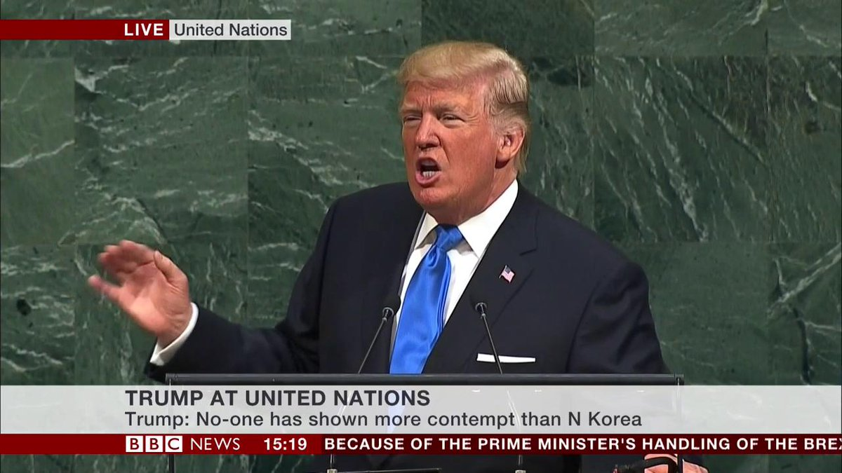 "Donald Trump describes North Korea's leader Kim Jong-un as ""rocketman"" in first UN speech"