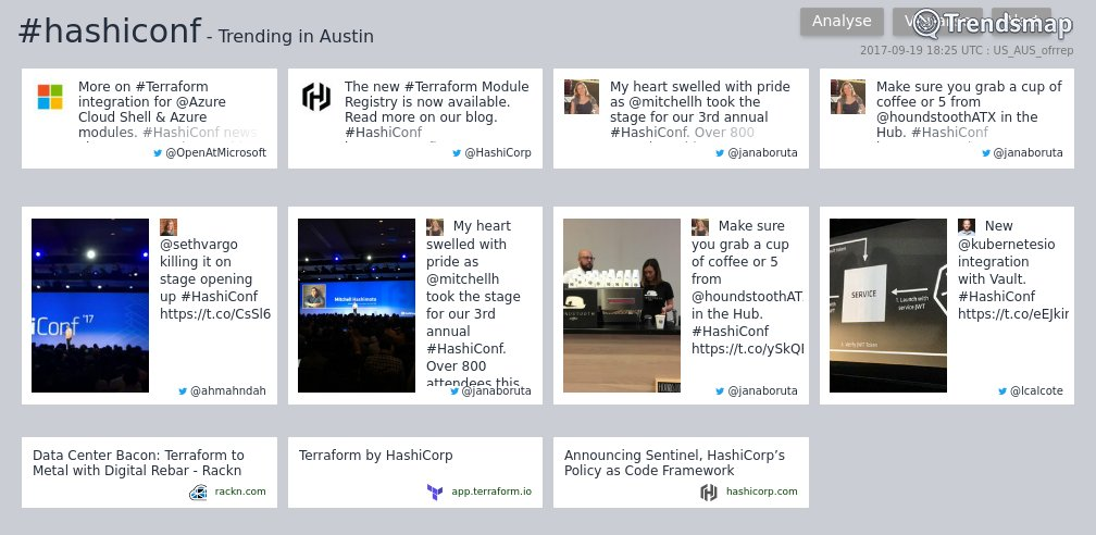 #hashiconf is now trending in #Austin  https://t.co/PgiufDyIy9 https://t.co/UMCxVny7nB