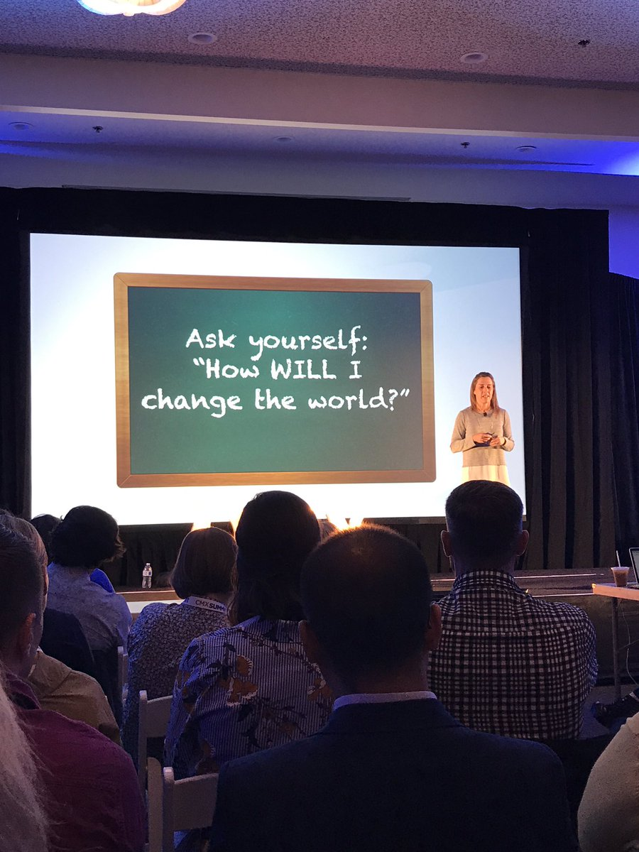 """Ask yourself: how WILL I change the world?"" -@ericakuhl/@salesforce #CMXsummit https://t.co/2cwbCcEHTV"