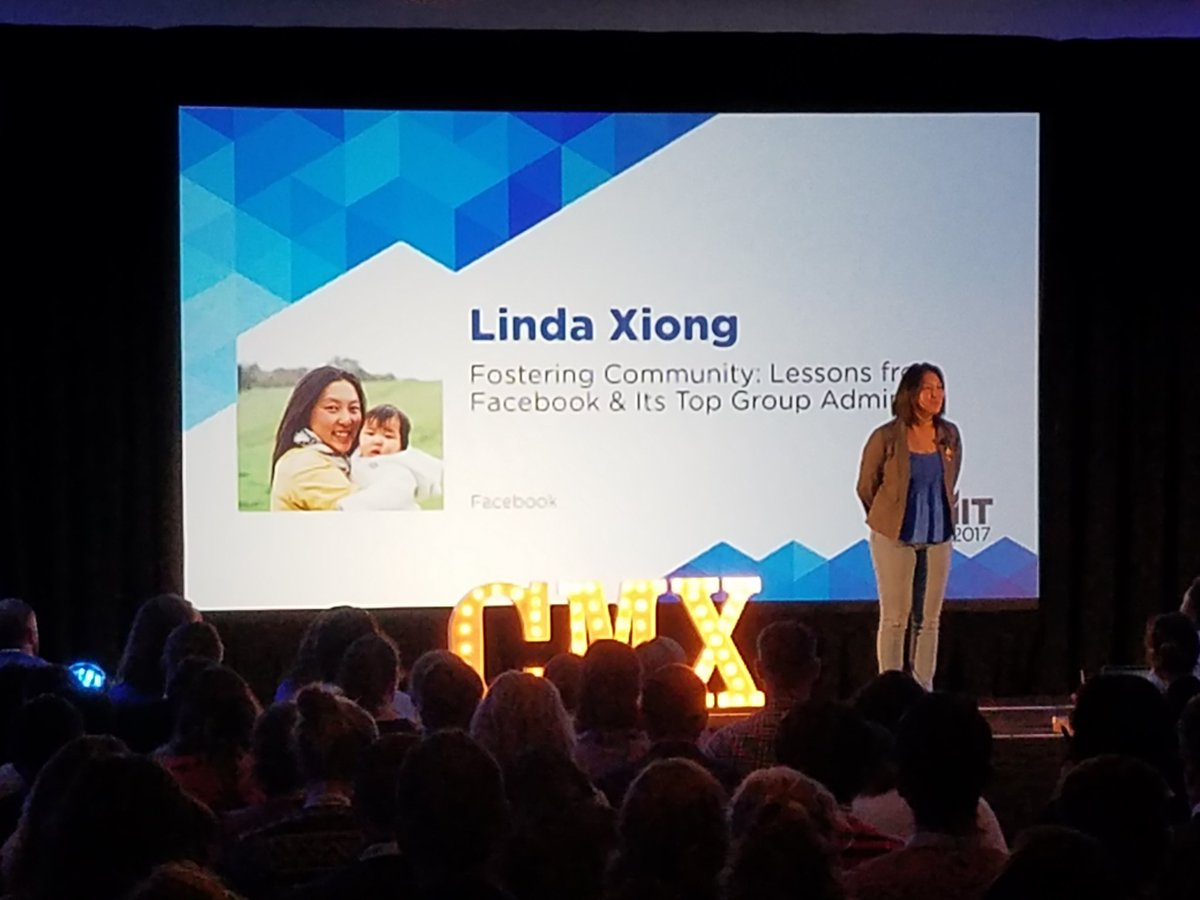 Linda Xiong from Facebook on stage now at #CMXsummit! https://t.co/hD8mFE1P98