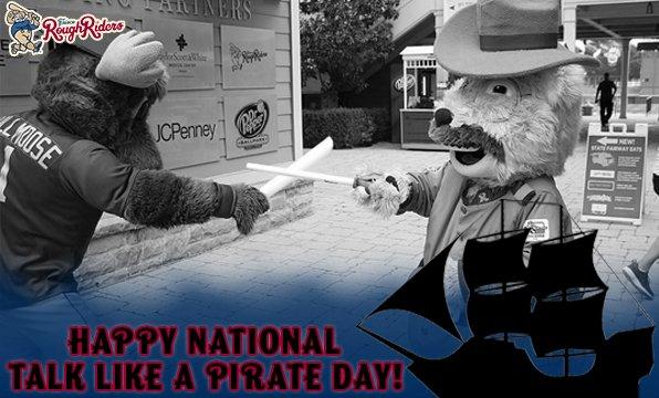 RT @RidersBaseball: Ahoy, Maties! Shiver me timbers it's National Talk Like a Pirate Day! 🏴☠️ https://t.co/ilPahPu32C