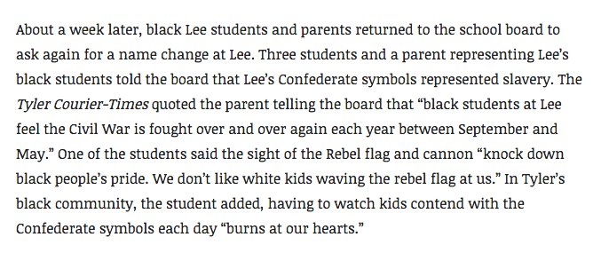 And it deeply, deeply bothered the black students and parents who entered Lee in 1970: https://t.co/j7vP1dIVac https://t.co/iMoiVNOrVc