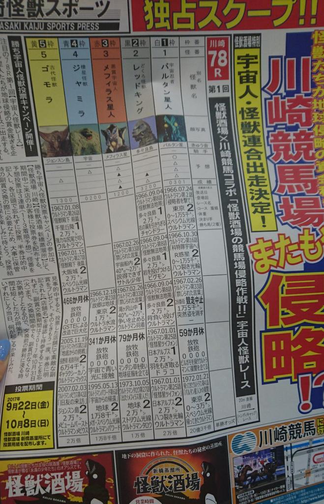怪獣酒場と川崎競馬場コラボイベントの競馬新聞風チラシ楽しい