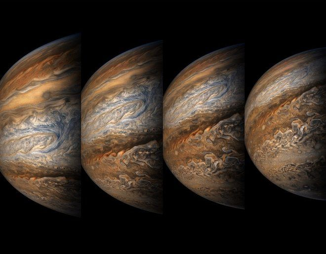 New photos by @NASAJuno capture the solar system's largest planet in all its complex glory. https://t.co/E2k0cTSBsT https://t.co/kdl4aOja7W