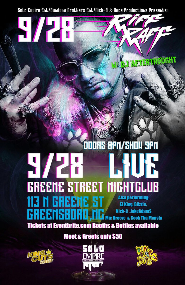 Riff Raff Dj Afterthought September 28 Live Nightclub Greenboro Nc