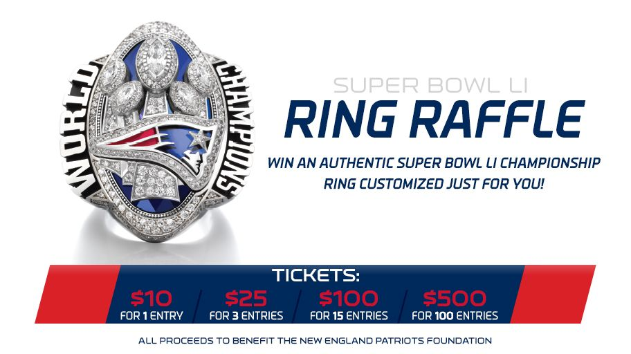 Enter to win an authentic Super Bowl ring AND support the #Patriots Foundation!   Tickets: https://t.co/TY1ImTPkb7 https://t.co/5bwDgKqndk