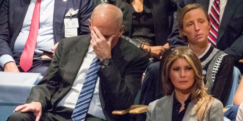 John Kelly and Melania listening to Trump at the UN is all of us. http...