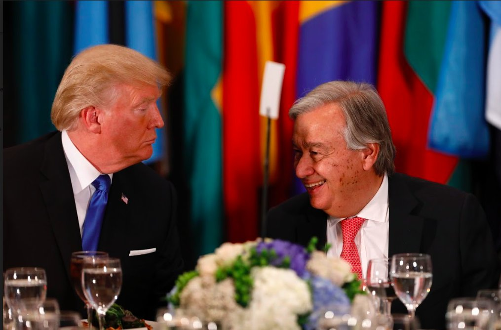 test Twitter Media - Trump's glower caught on camera vis a vis Guterres @UN #UNGA photo by Li Muzi https://t.co/JwxxK23UKc