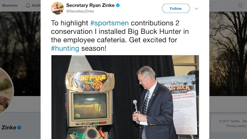 Interior Secretary installs 'Big Buck Hunter' game in agency building to promote hunting https://t.co/FvnAzdo56V https://t.co/SUiria2CUp