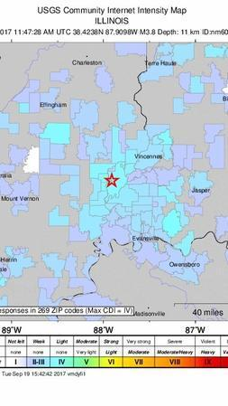 Small earthquake reported in southeastern Illinois, felt in 3 states