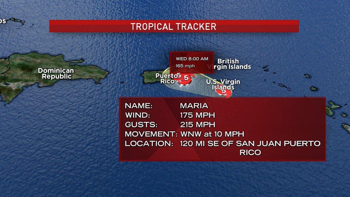 Category 5 #HurricaneMaria approaching St Croix will make landfall ove...