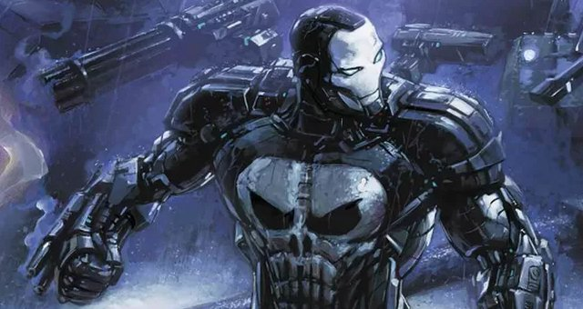 This @Marvel cover gives us a breathtaking look at #ThePunisher as War Machine