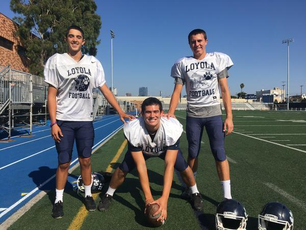 They are Loyola's three amigos who kick, punt and long snap