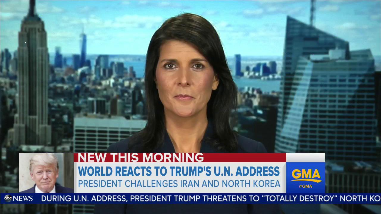 '[President Trump] was being honest.' - Ambassador @nikkihaley to @GStephanopoulos on the President's U.N. address https://t.co/tFFfo5IoMb