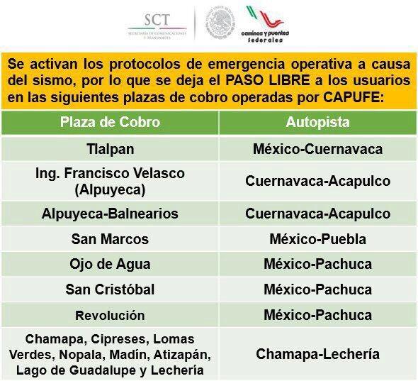 Para facilitar movilidad de la CDMX, las siguientes autopistas no cobrarán peaje #sismo: https://t.co/ay7xAcWDdJ