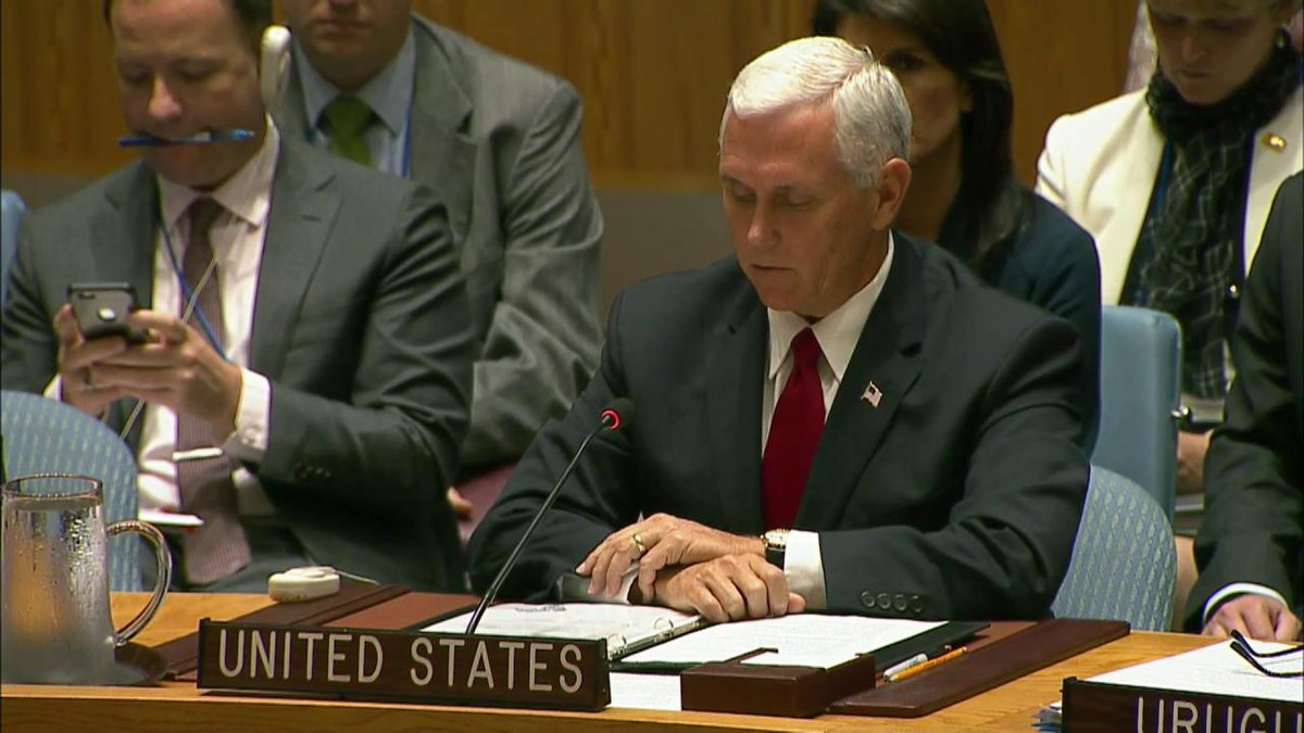 .@VP at #UNGA Our hearts and our prayers are with the people of #PuertoRico and the people of #Mexico as we gather.