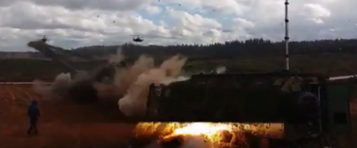 WATCH: Russian Military Choppers Accidentally Launch Missiles At Audience [VIDEO] https://t.co/Hx2cTNUg7F https://t.co/qt7TxktLMi