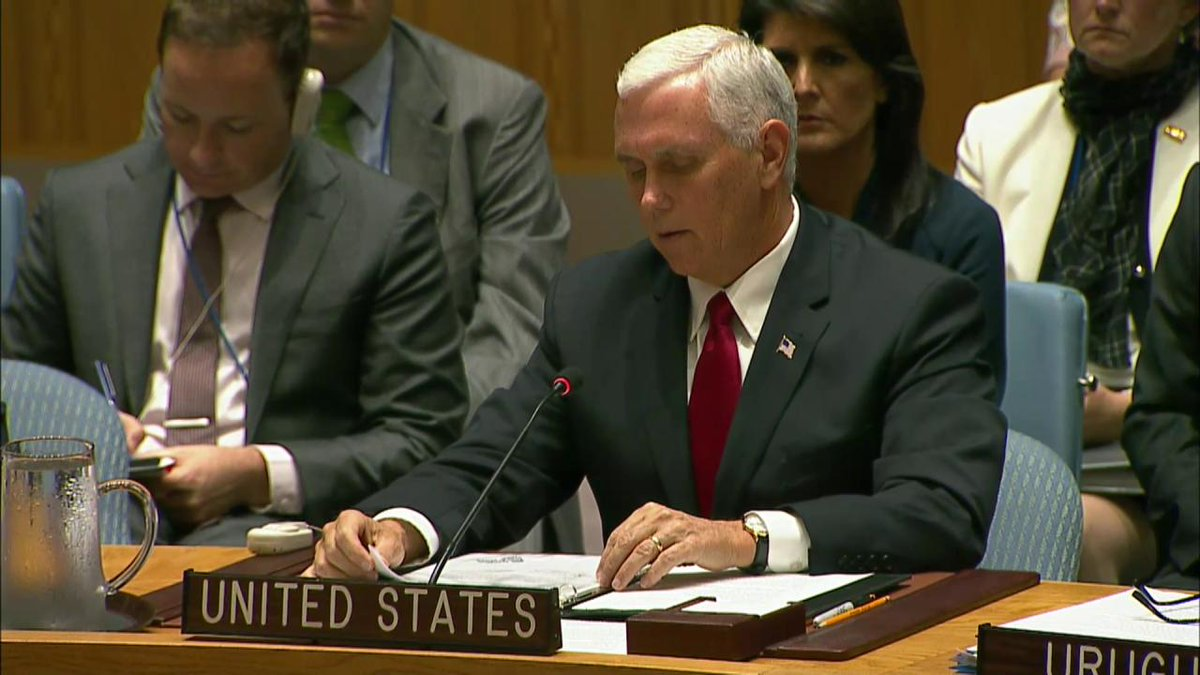 .@VP Mike Pence at #UNGA Keeping the peace is at the heart of the @UN mission. #USAatUNGA
