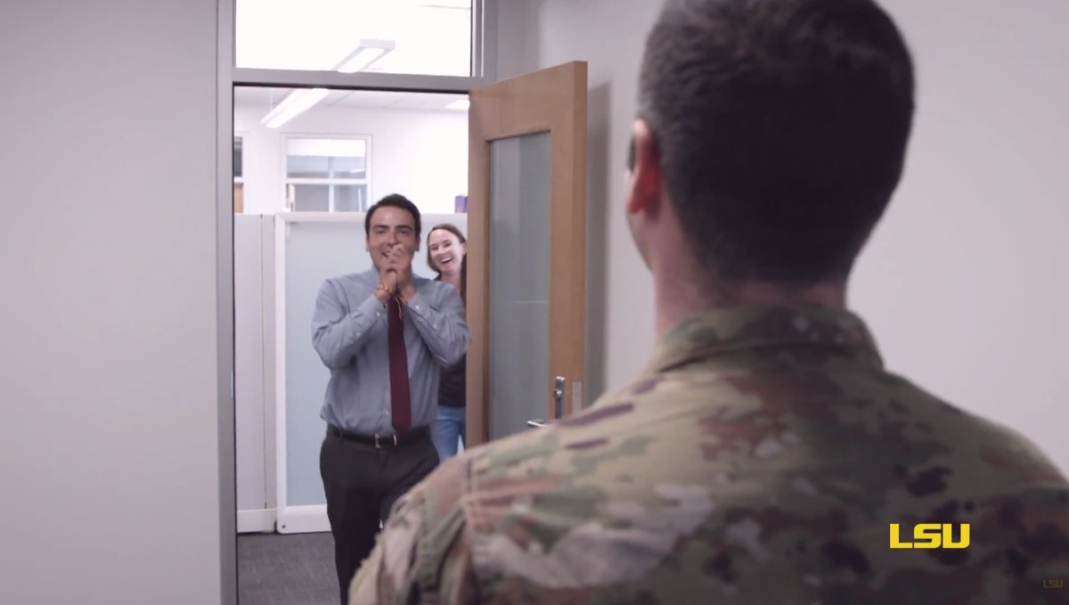 College student gets surprise visit from family on leave from National Guard