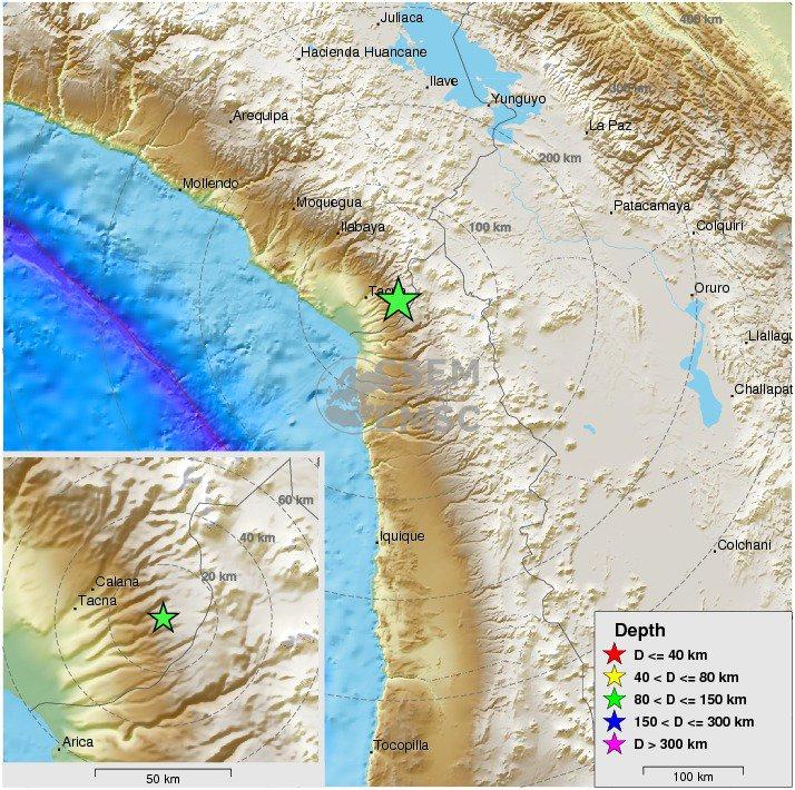 Felt #earthquake M4.7 strikes 33 km E of #Tacna (#Peru) 39 min ago. Pl...