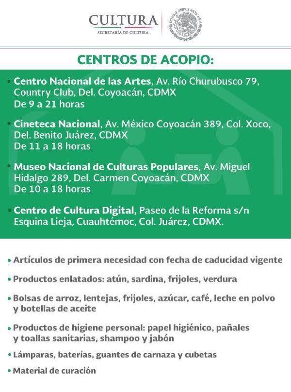 Centros de acopio disponibles y artículos y productos requeridos: https://t.co/B9wLPJl6Sy