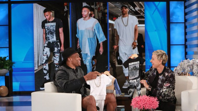@TheEllenShow: RT @okcthunder: Meanwhile...on @TheEllenShow.  #FashionKing #WhyNot  Photo Credit: Michael Rozman/Warner Bros. https://t.co/84RFYrlnUX