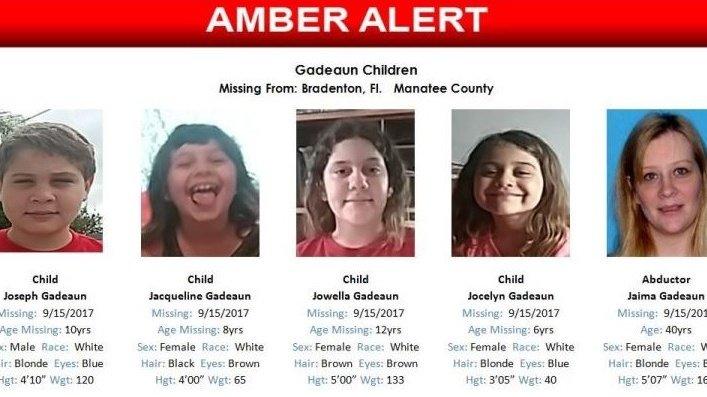Amber Alert issued for 4 children last seen in Bradenton area