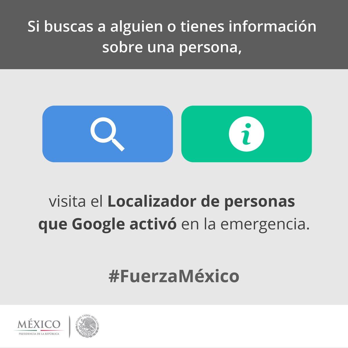 Recuerden utilizar el localizador de personas de Google: https://t.co/0OYe9NWxy0  #SismoMX https://t.co/I7Tii2lkHW