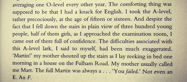 Some context to Martin Amis's peculiar obsession with A-levels. (From...
