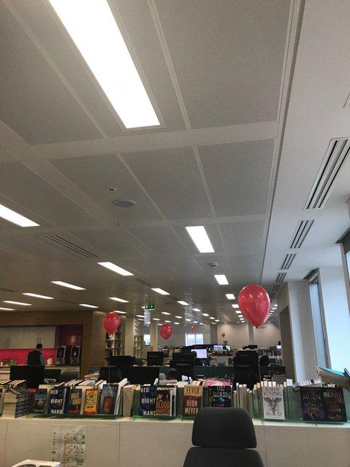 Red balloon randomly exploding - very creepy. Happy Bday Stephen King!