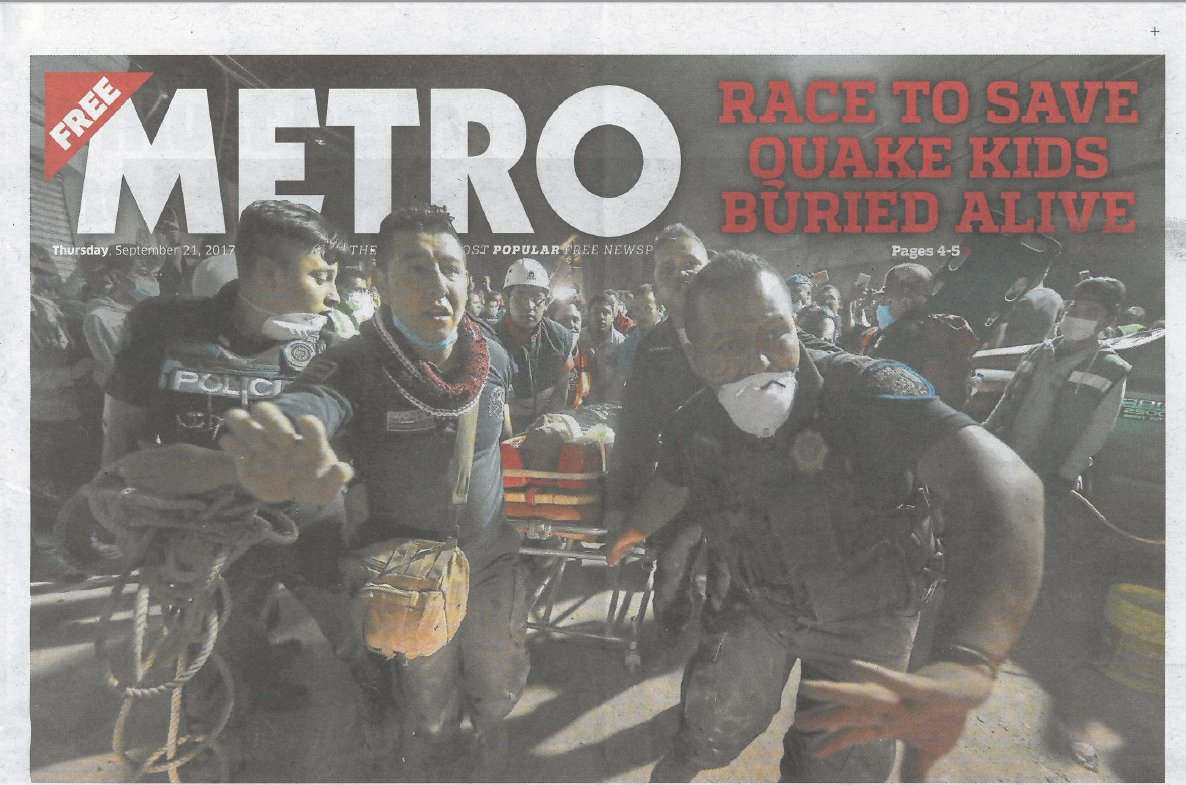 Metro, pages 4 & 5 - Race to save quake kids - Buried but on WhatsApp https://t.co/i9s9xIpKXU