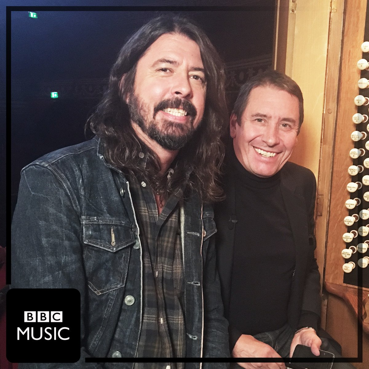 Dave Grohl and Jools Holland pictured backstage at 's #LaterJ...