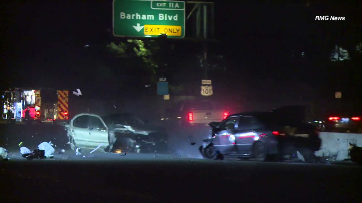 WATCH Driver traveling at freeway speeds slams into stalled car on 101 in Hollywood