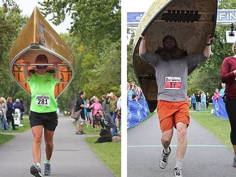 Most Minnesotan race ever: A canoe portaging division in Ely half marathon
