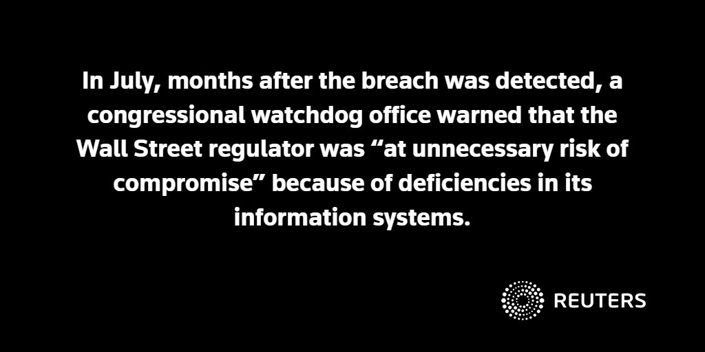 Government watchdog identified several weaknesses in SEC systems after hack in 2016 https://t.co/4bvH9lQGeB https://t.co/sfXgBkdlui