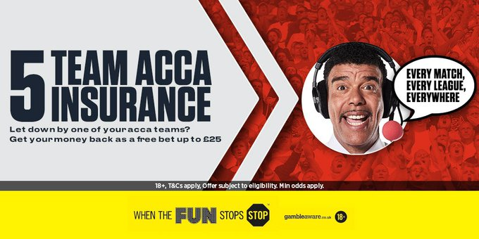 Back a 5+ acca and if one team lets you down, we'll give you MONEY BACK as a free bet... https://t.co/0dzmzhHsAZ https://t.co/GY0bT1LkRt