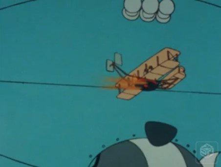 動力部の工面が期日まで間にあわないとの事で、丹平は苦肉の策でテントウキを動力代わりとして飛んでいるように見せかける。だが