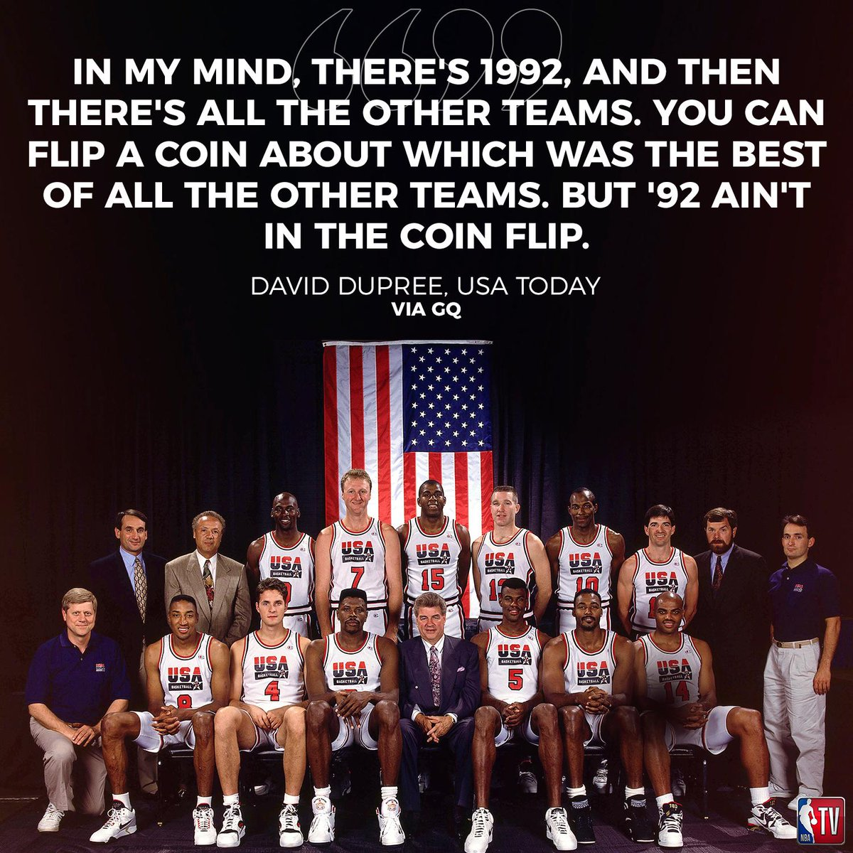 """26 years ago today, @usabasketball announced the """"Dream Team"""" members for the 1992 Olympics. #TBT"""