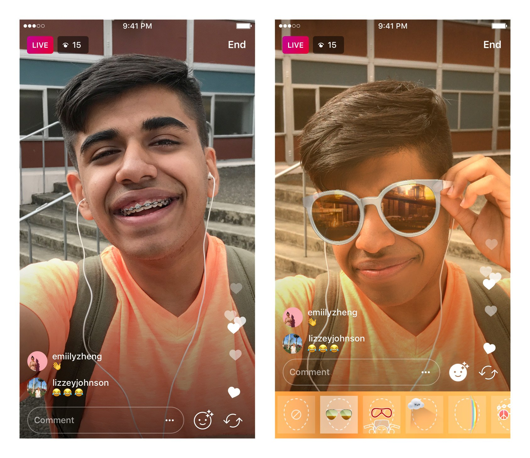 Starting today, you can play with face filters while sharing live video! ✨ https://t.co/YY2xeHfLPi https://t.co/O79lGe4rlc