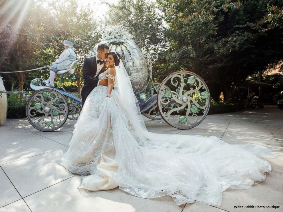Disney-obsessed couple ties the knot with lavish Fairy Tale wedding at Disneyland.