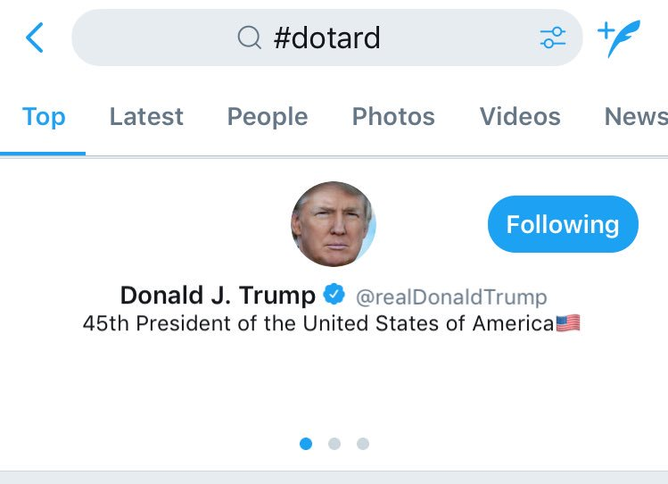 My favorite part about #dotard trending is that the Donald is the firs...