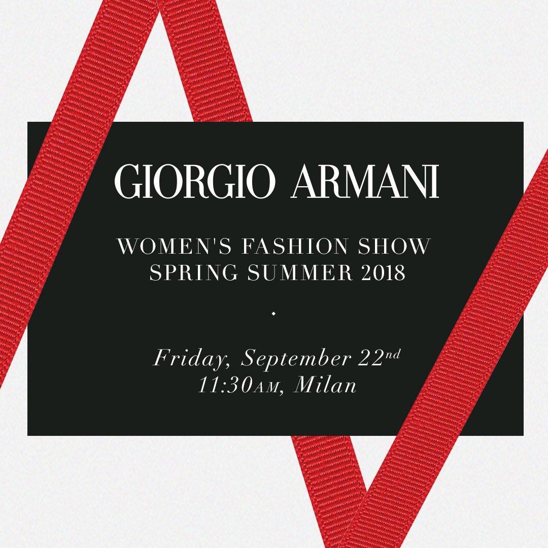 日本時間 本日18:30ージョルジオ アルマーニ 2018年春夏レディースコレクションショーがスタート。https://t.co/v6Wgfg1t2g のライブ映像でぜひお楽しみください。#GiorgioArmani https://t.co/mV7X0inUmu