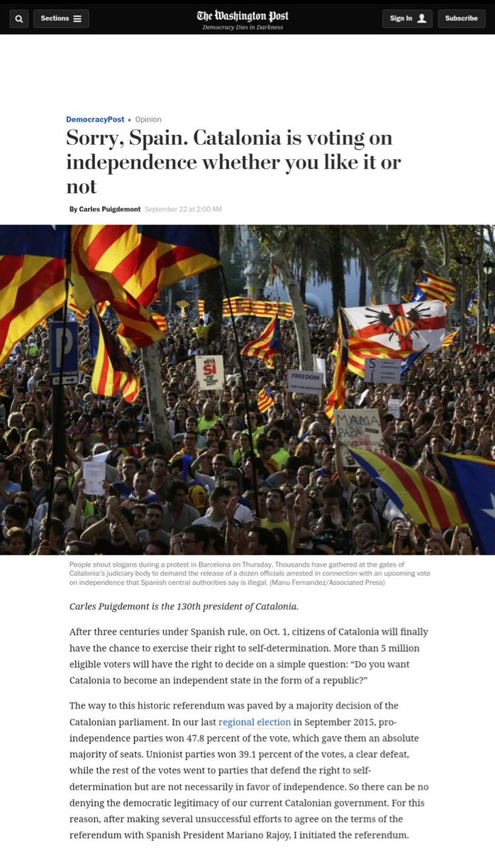 sorry spain catalonia is voting on independence whether you like it or not https