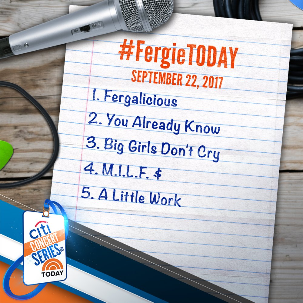 We can't wait for @Fergie! Here's her setlist #FergieTODAY