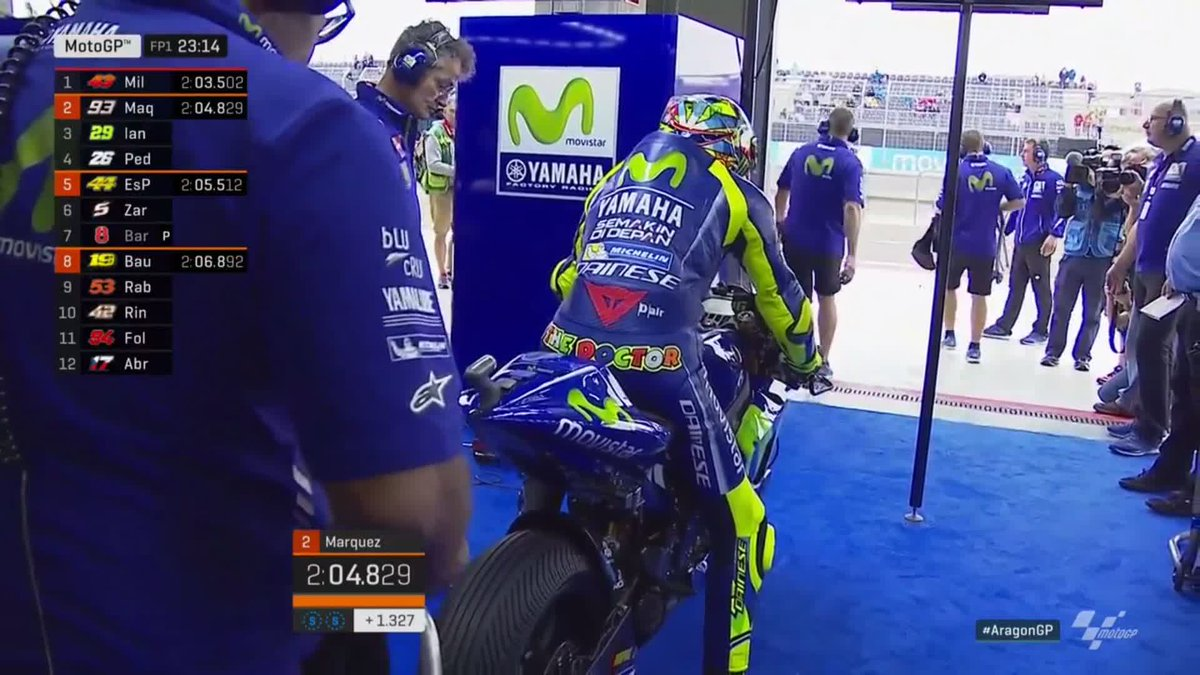 Wet tyres on, Rossi rolls out...  Take 2 for the Doctor🎬 #AragonGP ht...