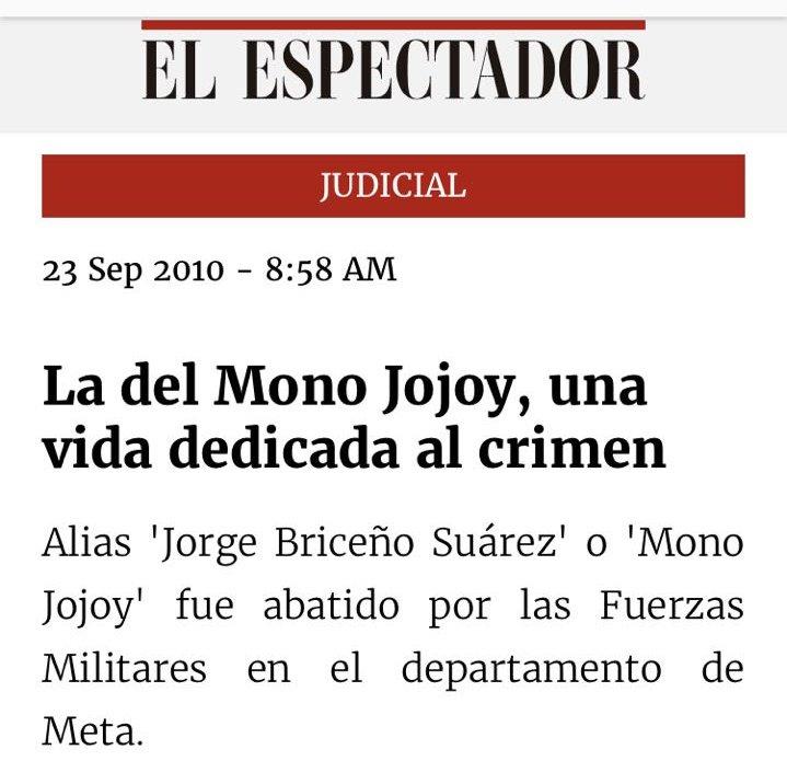 RT @CARLOSFMEJIA: Este es el titular correcto, una vida dedicada al crimen! #MonoJojoySiempreTerrorista https://t.co/yxd30mb6Gh