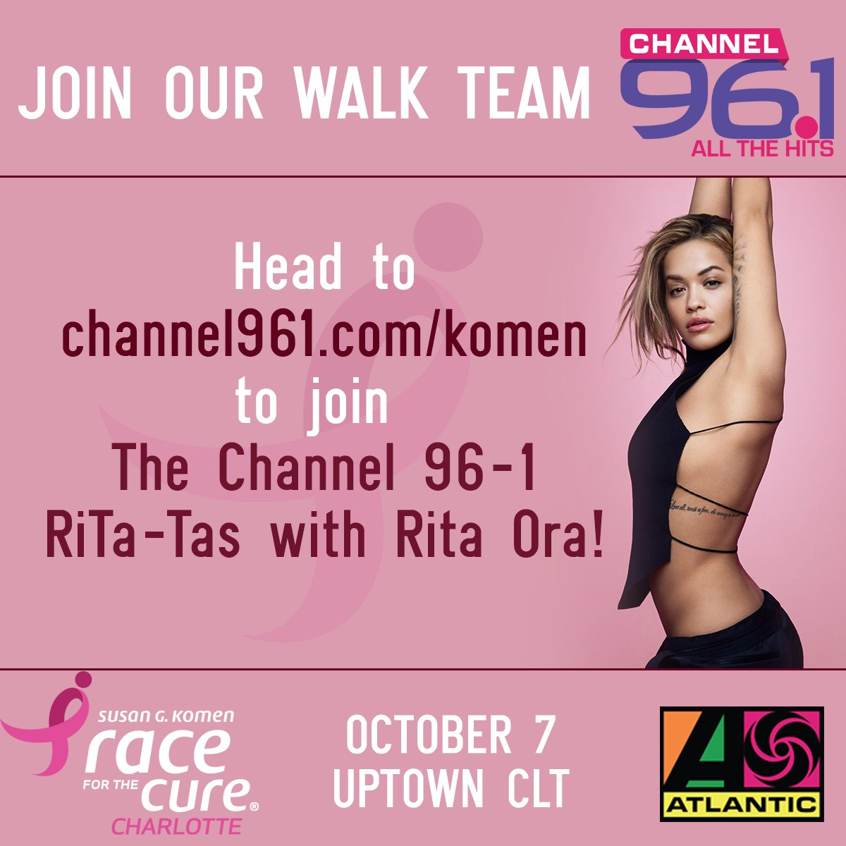 Join @channel961 and me in CHARLOTTE!!!! I'm walking with you on October 7 in support of Race for the Cure!!! https://t.co/zTJQdvGKOb