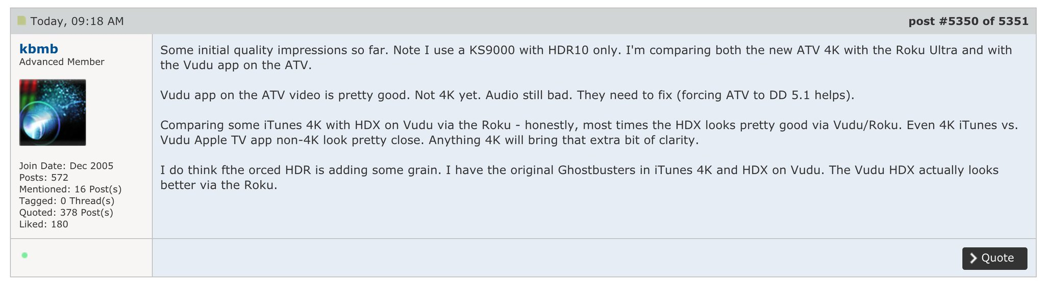 AVSForum members are starting to get their 4K Apple TVs: https://t.co/0gmSaJJK8Y https://t.co/ppMfiJ1nQT